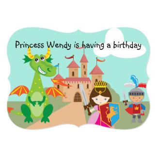 """Princesa Dragon y el cumpleaños del caballero Invitación 5"""" X 7"""""""