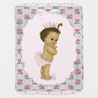 Princesa dulce Baby del rosa color de rosa Mantitas Para Bebé