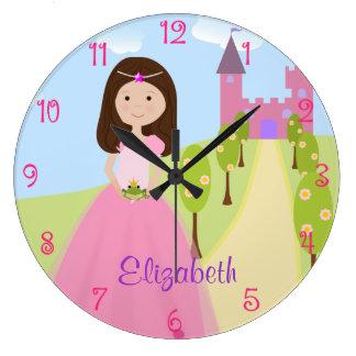 Princesa dulce Personalized del pelo de Brown Reloj Redondo Grande
