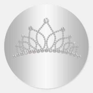 Princesa elegante Sticker de la tiara del diamante Pegatina Redonda