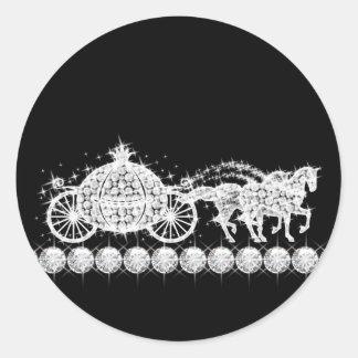 Princesa elegante Stickers del carro del diamante Etiquetas Redondas