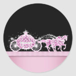 Princesa elegante Stickers del rosa del carro del  Etiqueta Redonda