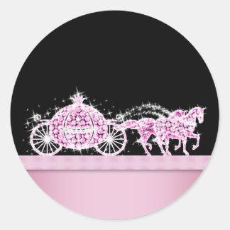 Princesa elegante Stickers del rosa del carro del Pegatina Redonda