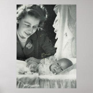 Princesa Elizabeth con príncipe Charles del bebé Poster