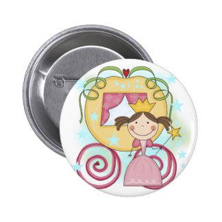 Princesa en camisetas y regalos del carro pin redondo 5 cm