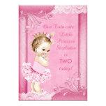 Princesa en cordón del 2do cumpleaños del bebé del invitación 12,7 x 17,8 cm