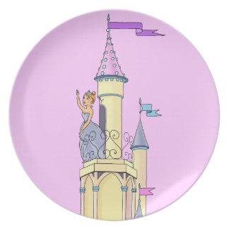 Princesa en el castillo del cuento de hadas - plac plato para fiesta