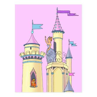 Princesa en el castillo del cuento de hadas - post postal