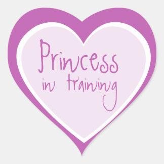 Princesa en el entrenamiento calcomanías de corazones personalizadas