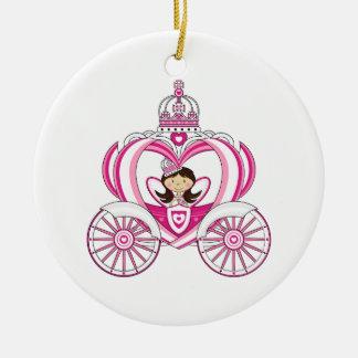 Princesa en el ornamento real del carro ornamento de navidad