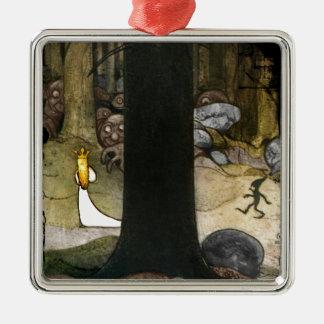 Princesa en las maderas adorno navideño cuadrado de metal