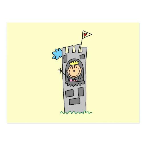 Princesa en torre del castillo tarjeta postal