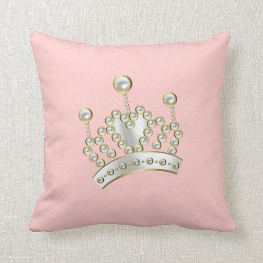 Princesa encrustada perla Crown Cojines