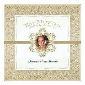 Princesa estrella de Mitzvah del palo del oro de Invitación 13,3 Cm X 13,3cm