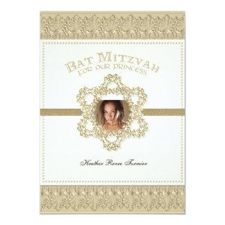 Princesa estrella de Mitzvah del palo del oro de Invitación 12,7 X 17,8 Cm