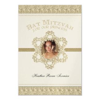 """Princesa estrella de Mitzvah del palo del oro de Invitación 3.5"""" X 5"""""""