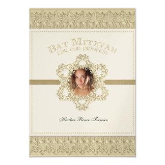 """Princesa estrella de Mitzvah del palo del oro de Invitación 5"""" X 7"""""""