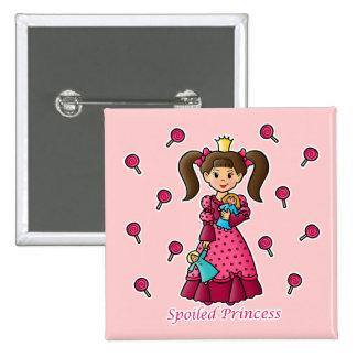 Princesa estropeada pin cuadrada 5 cm