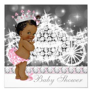 """Princesa étnica afroamericana fiesta de bienvenida invitación 5.25"""" x 5.25"""""""