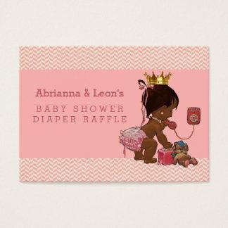 Princesa étnica en rifa del pañal de los galones tarjeta de negocios