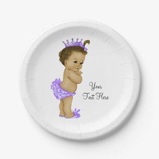 Princesa étnica fiesta de bienvenida al bebé plato de papel 17,78 cm