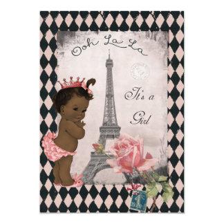 Princesa étnica fiesta de bienvenida al bebé subió invitación 12,7 x 17,8 cm
