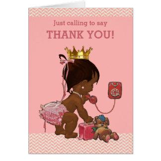 Princesa étnica Ringing To Say Thank del bebé Tarjeta Pequeña