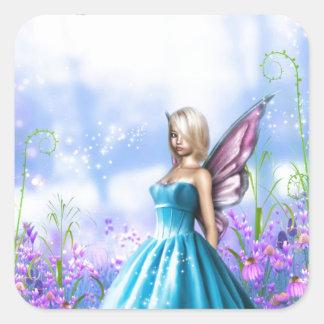 Princesa Fae en azul Pegatina Cuadrada
