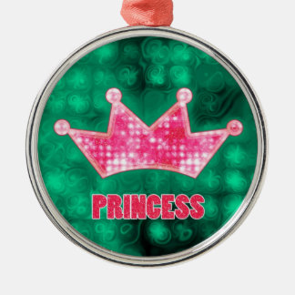 Princesa femenina y tiara rosadas y verdes del bri ornaments para arbol de navidad