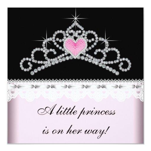 Princesa fiesta de bienvenida al bebé del negro invitación 13,3 cm x 13,3cm