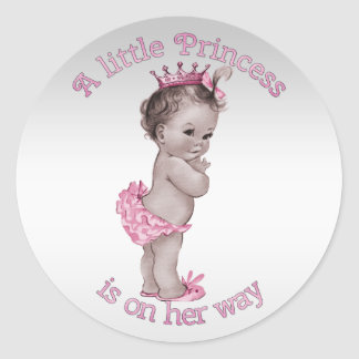 Princesa fiesta de bienvenida al bebé del vintage etiquetas redondas