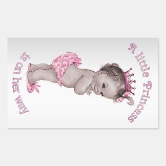 Princesa fiesta de bienvenida al bebé del vintage rectangular pegatina