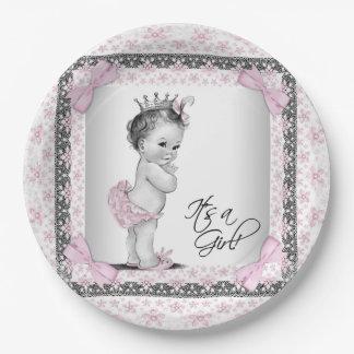 Princesa fiesta de bienvenida al bebé del vintage plato de papel de 9 pulgadas