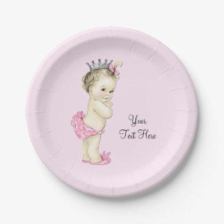 Princesa fiesta de bienvenida al bebé del vintage plato de papel de 7 pulgadas