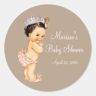 Princesa fiesta de bienvenida al bebé pegatina redonda