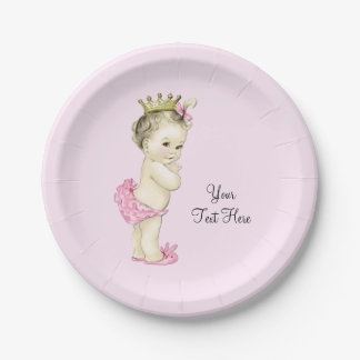 Princesa fiesta de bienvenida al bebé plato de papel de 7 pulgadas