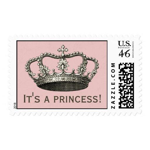 Princesa fiesta de bienvenida al bebé sellos