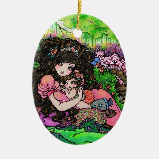 Princesa Forest Art de la mamá y del bebé de Adorno Navideño Ovalado De Cerámica