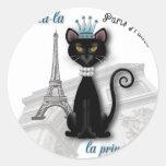 princesa francesa del gatito del Oo-la-la Pegatina Redonda