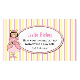 Princesa Girl con la tarjeta de fecha rayada del Tarjetas De Visita