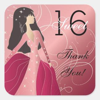 Princesa Girl del cumpleaños Pegatina Cuadrada
