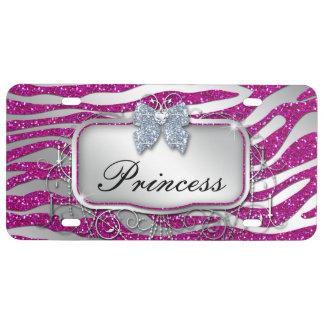 Princesa Glitter Zebra Funny Cute fresco Placa De Matrícula