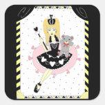 Princesa gótica de los corazones calcomanías cuadradass personalizadas