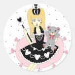 Princesa gótica de los corazones pegatina redonda