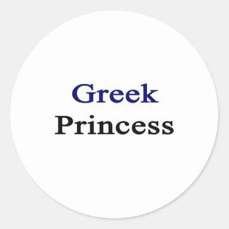Princesa griega pegatina redonda