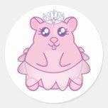 Princesa Hamster Stickers Etiquetas Redondas