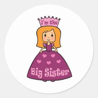 Princesa hermana grande pegatina redonda