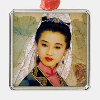 Princesa hermosa joven china fresca Guo Jing Adorno Navideño Cuadrado De Metal