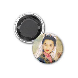 Princesa hermosa joven china fresca Guo Jing Imán Redondo 3 Cm