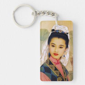 Princesa hermosa joven china fresca Guo Jing Llavero Rectangular Acrílico A Doble Cara